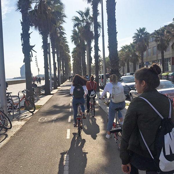 Bike tour at Barcelona beach