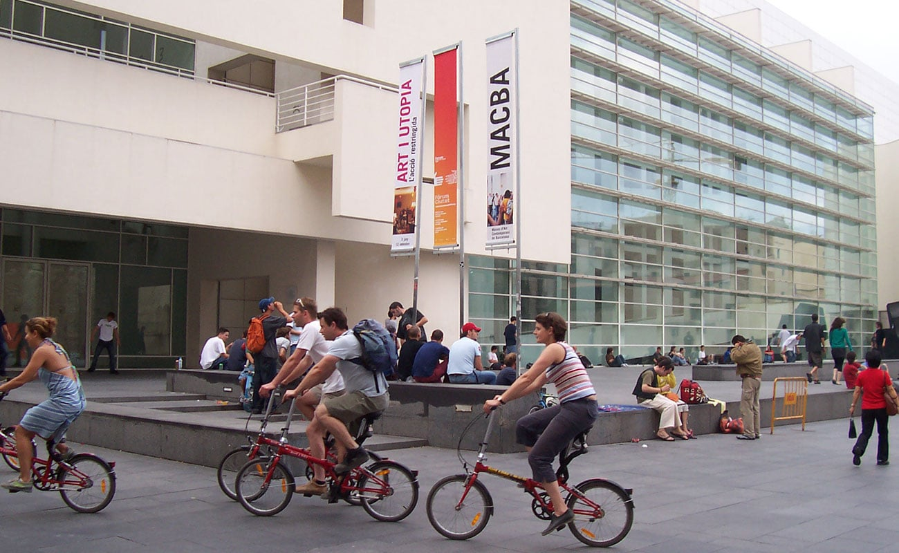 Bike tour in front of MACBA